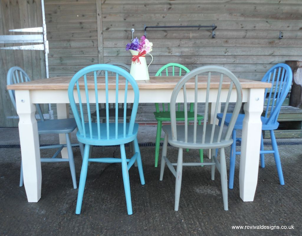 Solid Pine Scrub Top Kitchen/Dining Table with 6 Pine Chairs ...