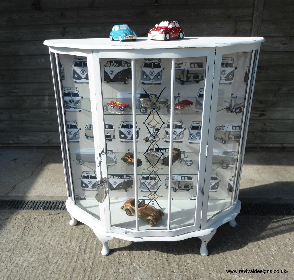 Vintage Glass Display Cabinet Painted White Camper Van & Scooter Fabric Lining