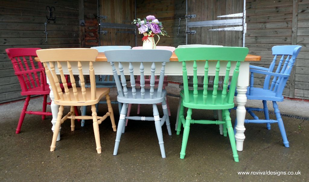 Solid Pine 6ft Farmhouse Kitchen Dining Table With 8 Multi Coloured Chairs