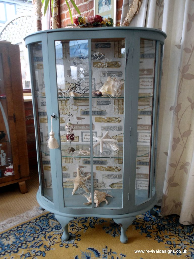 Vintage Glass Display Cabinet Antique Harbour Fabric