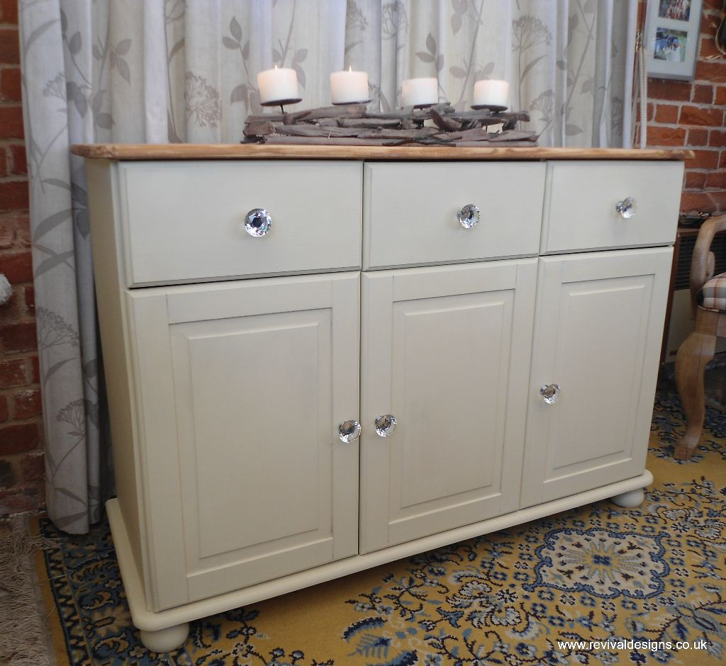 Shabby Chic Solid Pine Cream Sideboard With 3 Drawers Revival Designs