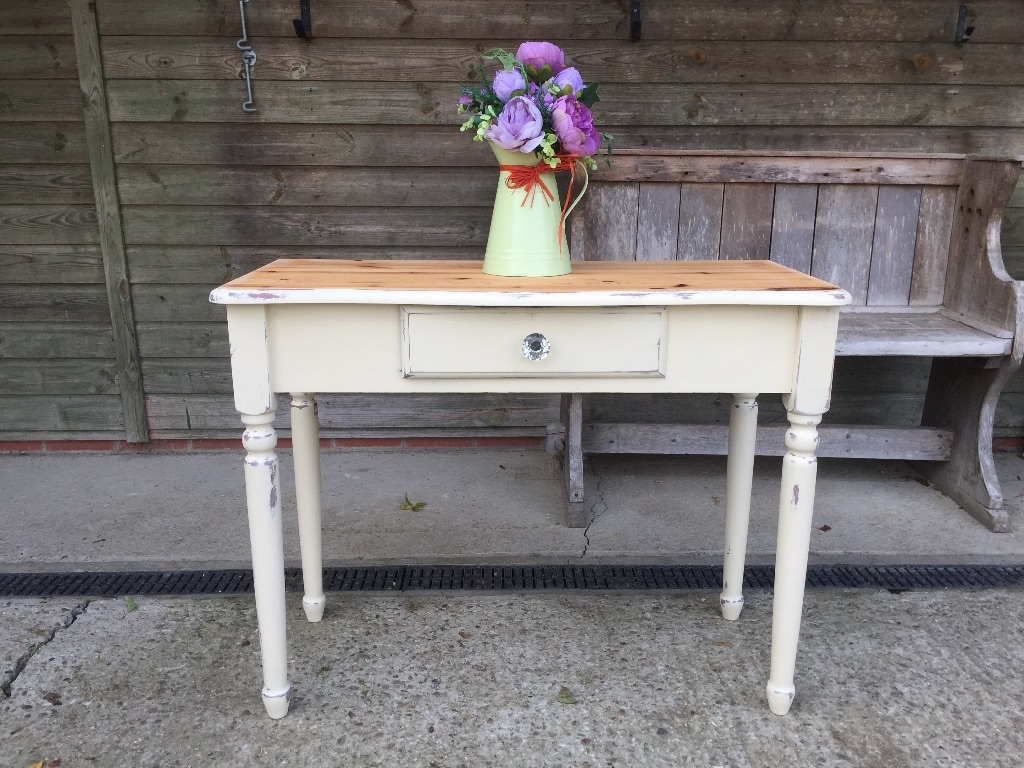 Solid pine cream console side table revival designs for 10 table cream